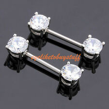 "2x Stainless Steel Clear CZ Gem Nipple Ring 14g Bar 9/16"" Barbell Piercing Gift"