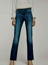 Massimo Dutti Ladies Jeans UK 6 Blue Relaxed Fit 26W 32L Mid Rise Factory Fade