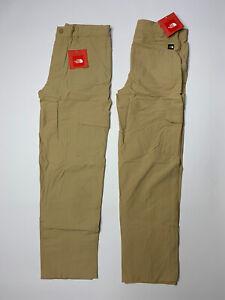 NEW Lot Of 2 Boys The North Face Cargo Hiking Pants Tan/Khaki Nylon Size Large