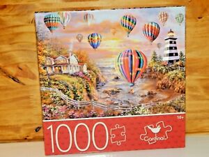 1000 piece Puzzle Jigsaw Hot Air Balloons Over Cottage Cove Cardinal