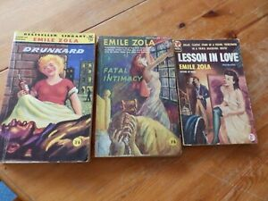 3 Vintage paperbacks - Emile Zola - Drunkard, Lesson in Love, Fatal Intimacy