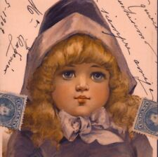 RARE BRUNDAGE..BLUE EYED GIRL IN PURPLE,1909,STROEFER,CHROMOLITHOGRAPH POSTCARD