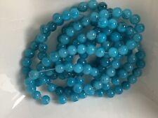 20x bemalte gesprayte Glas Perlen Schmuck DIY transparent gelb grün blau 6mm