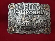 2011 RODEO TROPHY BELT BUCKLE~CHICO CALIFORNIA TEAM ROPER CHAMPION~LEO SMITH~140