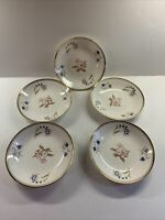 """5 American Limoges China Glamour Greenway  22K 8"""" Coupe Soup Salad Bowls 8"""""""