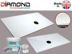 Diamond Wet Room Shower Tray D10 850x850 Wet Floor Base inc. Waste & Tanking Kit
