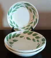 Italian Made Coupe Pasta/Soup Bowls x3 Green Leaves, Red Berries