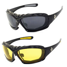 2 PAIRS COMBO Chopper Padded Wind Resistant Sunglasses Motorcycle Riding Glasses