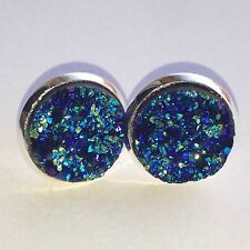 Peacock Blue With Silver Gold Flecks 12mm Sparkly Round Druzy Earrings Studs