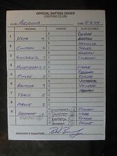 5/6/04 Bob Brenly Signed Arizona Diamondbacks Game Used Lineup Umpire Card 186