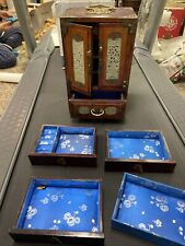 New ListingVintage Chinese inlaid jade wood Jewelry Box Brass Shanghai lined drawers Old
