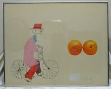 Robert Weil Graphic Capitalism Lithograph #35/75 Old Man Cycling & Oranges