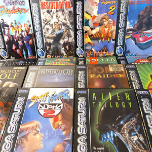 Sega Saturn Games Street Fighter Alpha, Alien Trilogy, Tomb Raider Resident Evil