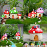 Mushroom House Resin Figurine Craft Plant Pot Fairy Garden Decor Ornament DIY