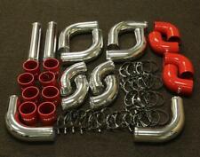 RDT 12 PCS CHROME ALUMINUM INTERCOOLER PIPING + RED COUPLER + T-BOLT CLAMPS KIT
