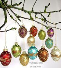 Christmas glass egg baubles set of 12 vintage style beautiful jewel colours