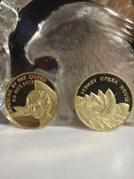 18CT GOLD - 2 MEDAL SET THE ROYAL VISIT 1973 OPERA HOUSE OPENING BY THE QUEEN !