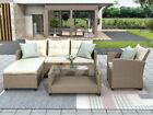 4cs Patio Garden Furniture Set Outdoor Wicker Rattan Sectional Sofa W/cushions