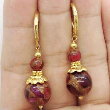 Natural Pretty Handmade Bold Ruby Goldstone Jade Gold Earrings Leverbacks
