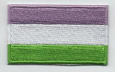 Embroidered GENDERQUEER PRIDE Flag Iron on Sew on Patch  HIGH QUALITY APPLIQUE