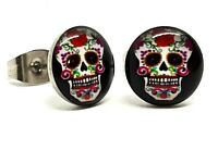 Stud Earrings New Pair of Unisex 'Skull Candy Mexican' Goth Boho Alternative