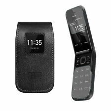 caseroxx Leather-Case with belt clip for Nokia 2720 Flip in black made of real l