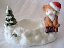 Sledding Teddy Votive Christmas Around the World Candle Holiday Decor