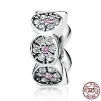 100% 925 Sterling Silver Sparkling Zircon Spacer Charm Beads pandora