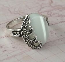Authentic Solid 925 Sterling Silver Women Ring Mother of Pear Gemstone Marcasite