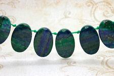Blue Green Jasper Natural Flat Oval Smooth Gemstone Beads Loose Bead 22mm x 36mm