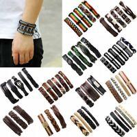 3/4/5/6pcs Men's Punk Leather Wrap Braided Wristband Cuff Punk Bracelet Bangle
