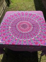 Sequin Mandala Gray Hot pink Sarong Cover up 115 cm wide x 150 cm Rayon Beach