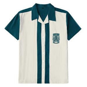Men Shirts Tiki Embroidered Rockabilly Bowling Short Sleeve Casual Shirts Cotton