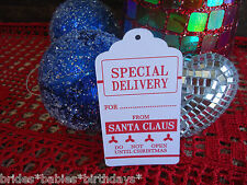10 Kraft White Favour Gift Swing Tags Christmas Santa Special Delivery Do Not  S