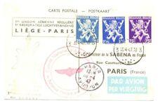 BELGIUM -1947 SPEC FLIGHT CARD - SABENA -- LIEGE-PARIS