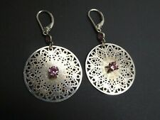 Vintage Filigree Signed Sterling Silver 925 Pink Topaz Leverback Dangle Earrings