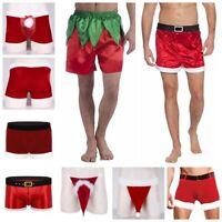 Men Christmas Underwear Santa Claus Fancy Dress Role Play Costume Underpants