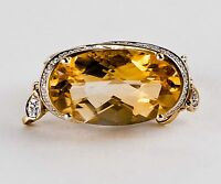 Contemporary 14K Yellow Gold Citrine and Diamond Ring with Diamond Dangles