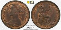 PCGS MS-63 RED-BN GREAT BRITAIN HALFPENNY 1/2 PENNY 1882 -H