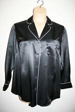 NEW Womens RALPH LAUREN Black White 100% SIlk Sleep Shirt Pajama Top 2X NWT $165