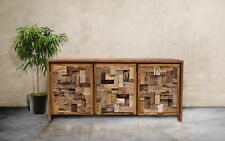 Recycled Teak Wood Mozaik Media Center / Chest with 3 Doors
