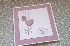 "Handmade pink glitter snowflake pocketfold Wedding invitation ""Sample"""