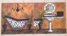 Set of 2 Cat Hargraves CH1005 CH1006 Art Posters Prints Bathroom Zebra (12x12)