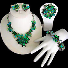 D&E Juliana Book Pc Aqua Green Arrow Rhinestone Necklace Bracelet Brooch Earring