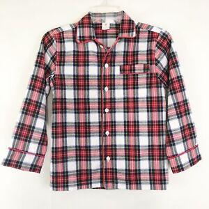 J Crew Cuts Red Plaid Flannel Pajama Top Sz 8