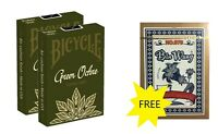 2 Decks BICYCLE Playing Cards New Release Gaf Green Ochre +1 Bin Wang for FREE