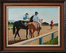 HORSE TRACK PAINTING GOLDEN GATE FIELDS ~ CALIFORNIA LISTED ARTIST  V. A. SEWARD