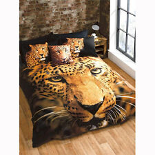 Single Bed Size 3D Leopard Face Duvet Set Quilt Cover With Pillow Case