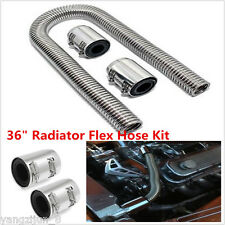 """36"""" Stainless Steel Radiator Flexible Coolant Water Hose Kit With Caps Universal"""