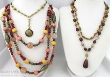 THREE NECKLACES BROWN AMBER CATS EYE BEADS MULTI STRAND
